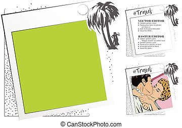 People under palm trees. Rest by sea. Frame for scrapbook, banner, sticker, social network.
