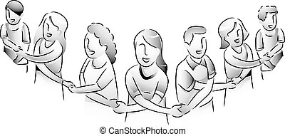 People Unity Link Hands - Black and White Illustration of...