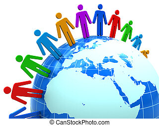 people unity - abstract 3d illustration of colorful people...