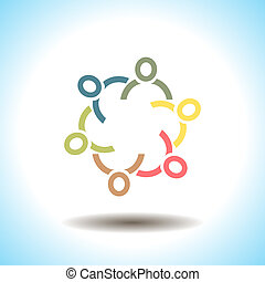 People unity vector icon concept