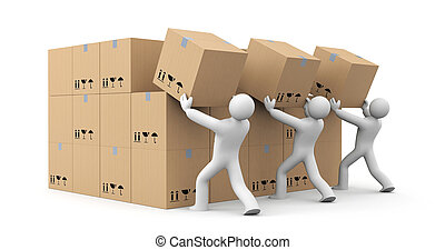 People unload a bunch of boxes. Parcel delivery. 3d illustration
