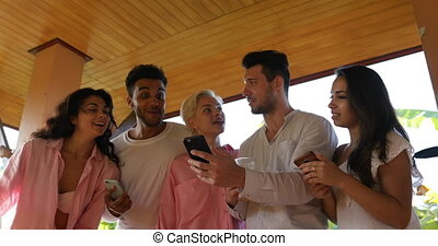 People Using Cell Smart Phone, Man And Woman Group Talk...