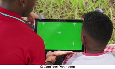People Using Internet Email On Ipad Tablet With Green Screen