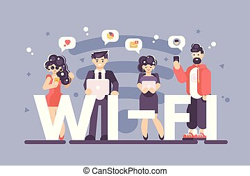 People using internet on modern gadgets poster
