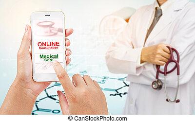 Online consultation medica concept.