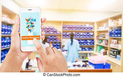 Online pharmacy concept.
