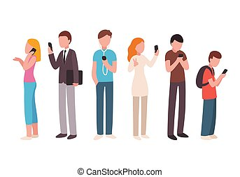 People using smartphones