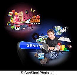 People Using Technology Communication Icons