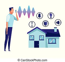 People using voice recognition digital technology vector ...