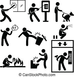 People Vandalism Violence Gangster - A set of pictograms...