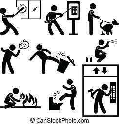 People Vandalism Violence Gangster - A set of pictograms ...