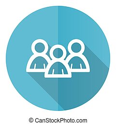 People vector icon, group flat design blue round web button isolated on white background