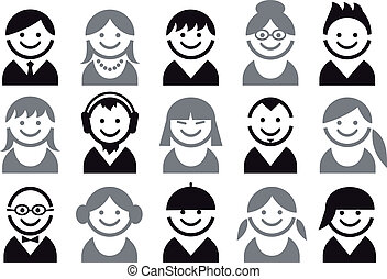 woman and man faces, vector icon set