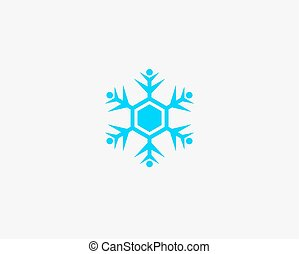 People vector icon, snow design round web blue button.