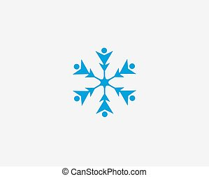 People vector icon, snow design round web blue button.
