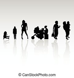 people vector silhouette illustration