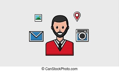 people viral content - bearded man portrait social media...