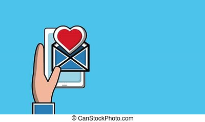people viral content - hand holding smartphone email love...