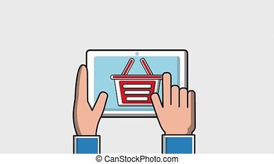 people viral content - hand with tablet follow shopping...