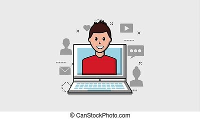people viral content - man in laptop screen viral content...