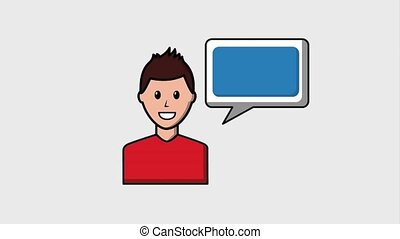 people viral content - portrait man talking speech bubble...
