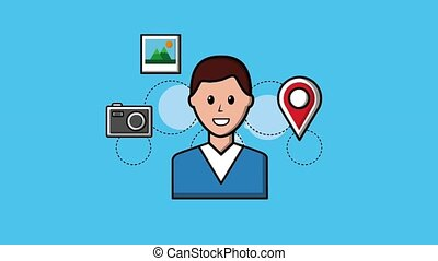 people viral content - young man pointer map camera and...