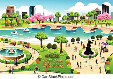 A vector illustration of people visiting a public park