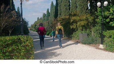 People visiting Bahai gardens in Acre, Israel - Tourists...