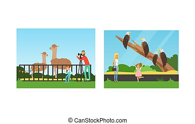 People Visiting the Zoo Set, Visitors Watching and Photographing Animals at Excursion Vector Illustration