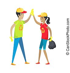 People volunteering together man and woman wearing t-shirts with recycling sign picked waste to be happy because of it isolated on vector illustration