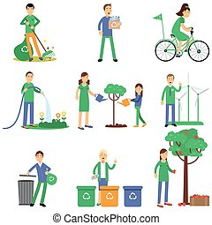 People volunteers cartoon characters contributing into environment preservation, flat style