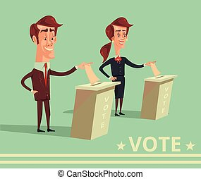 People vote candidates of different parties. Vector cartoon...