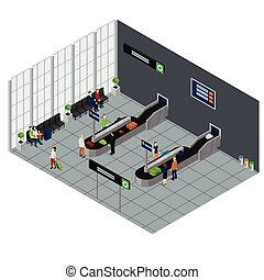 People Waiting Baggage Isometric Illustration