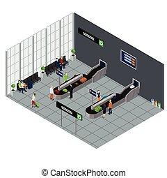 People Waiting Baggage Isometric Illustration