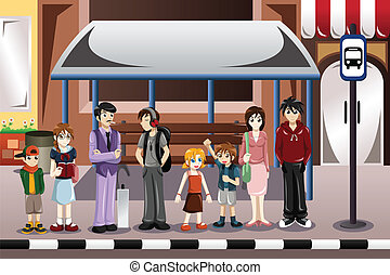People waiting for a bus - A vector illustration of people ...