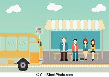 People waiting for a bus. - People waiting for a bus at the ...