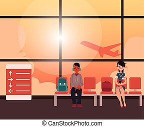 People waiting for flight in airport terminal lounge room