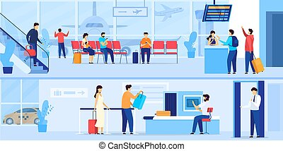 People waiting in airport, security check and registration for flight, vector illustration