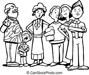 People Waiting in Line black vector illustration image scalable to any size.