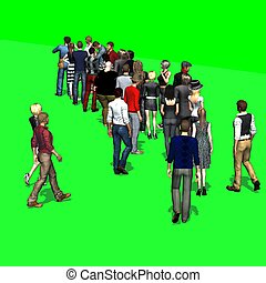 People waiting in line -  green screen