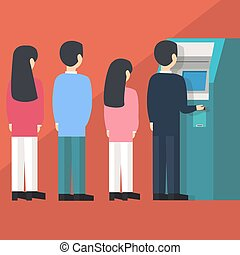 people waiting in line queue to draw money from self-service ATM Automated Teller Machine cartoon vector illustration flat