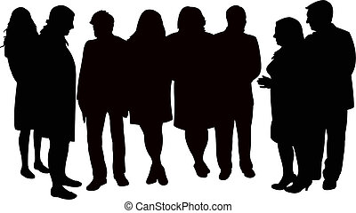 people waiting, silhouette