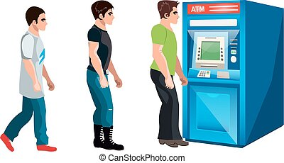 People waiting to queue to an ATM