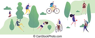 People walk and relax in the park, outdoor activities vector illustration