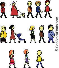 People walk - Vector illusration of people walk, no gradient