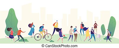 People walk in the city park vector illustration