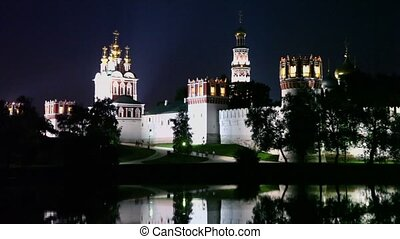 People walk near complex of Novodevichy Convent