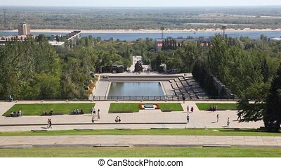 People walk on descent of Mamayev Kurgan in Volgograd.