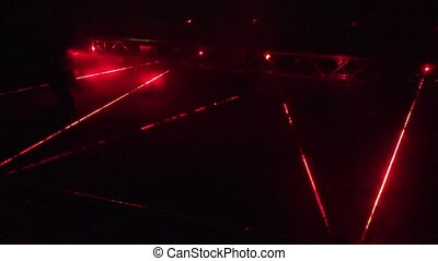 People walk red laser beams at security alarm system...