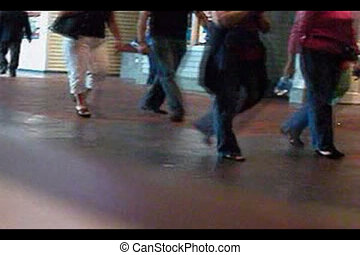 People in a mall walking to and from places